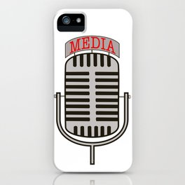 """Media"", an old fashioned microphone illustrated graphic.  iPhone Case"