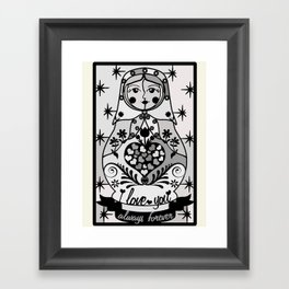 Gray matryoshka by Lilach Vidal Framed Art Print