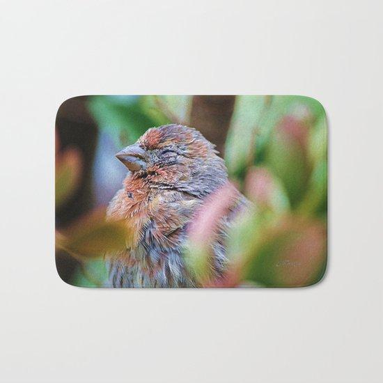 Sleepy Bird. House Finch. © J. Montague. Bath Mat