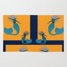 Retro Mermaid Tile Print Rug