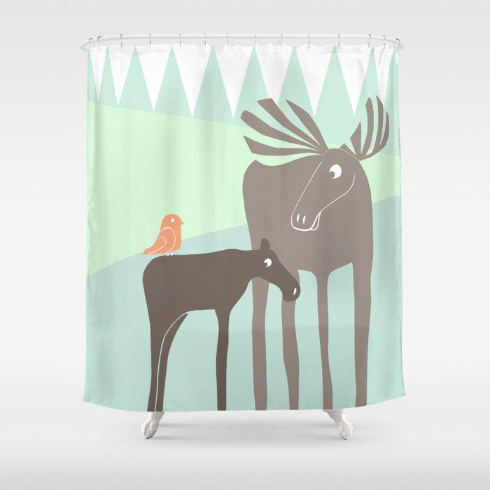 Moose Shower Curtain By Ceciliaandersson