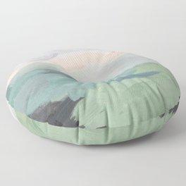 Seafoam Green Mint Black Blush Pink Abstract Nature Land Art Painting Floor Pillow