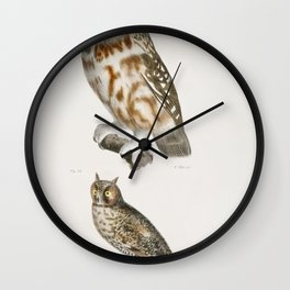 23 The Acadian Owl (Ulula acadica) 24 The Long-eared Owl (Otus americanus)  from Zoology of New York Wall Clock