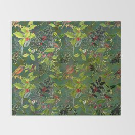 Christmas Pattern with Green Background Throw Blanket