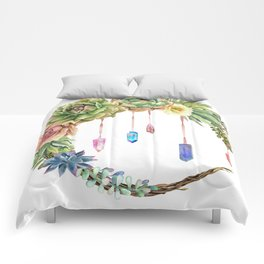 Crystal Crescent Moon With Lovely Succulents Comforters