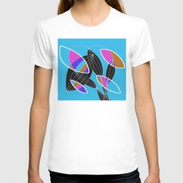 4 colors Organic objects on Blue - White Lines T-shirt