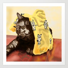 Dismayed Black Cat Art Print