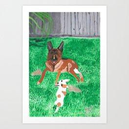 paintin pups Art Print
