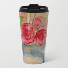 Flowers in a blue vase Travel Mug