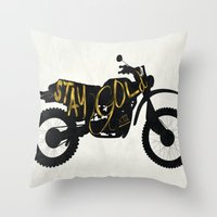 stay gold Throw Pillows featuring Stay Gold by Ride The Storm