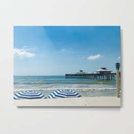 """Fort Myers Beach Umbrellas"" Photography by Willowcatdesigns Metal Print"