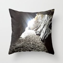 Light in Maghera Caves Ireland Throw Pillow