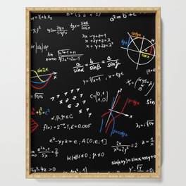 math blackboard Serving Tray