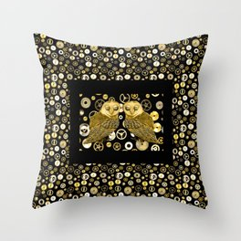 Cogs and Owls Throw Pillow