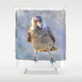 Jackdaw Watercolor Shower Curtain