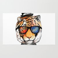 nerd Area & Throw Rugs featuring tiger nerd by dogooder