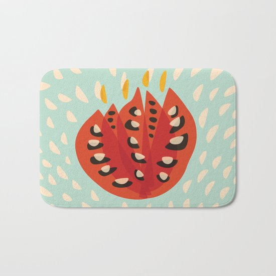 Red Abstract Tulip Bath Mat