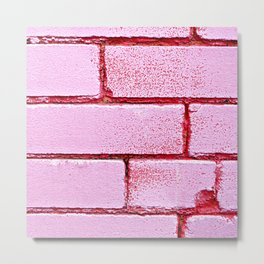Pink Bricks Metal Print