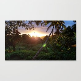 A Topical Sunset Over the Mountains from Tamavua Canvas Print