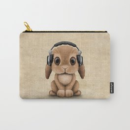 Cute Baby Bunny Dj Wearing Headphones Carry-All Pouch