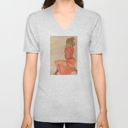Egon Schiele - Kneeling Female in Orange-Red Dress Unisex V-Neck