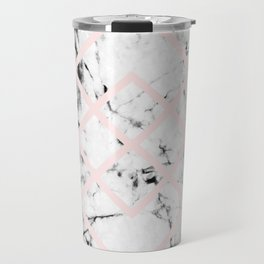 White Marble Concrete Look Blush Pink Geometric Squares Travel Mug