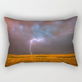Ride the Lightning - Lightning and Rainbow Over Oklahoma Plains Rectangular Pillow