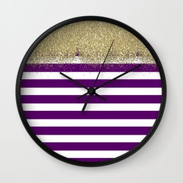 Purple and White Stripes Faux Gold Glitter Wall Clock