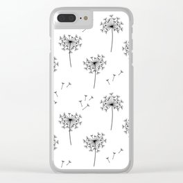 Dandelions in Black Clear iPhone Case