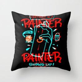 Funny Painter T-Shirt Design Throw Pillow