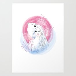 Girl and Polar Bear Art Print
