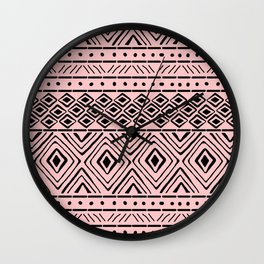African Mud Cloth // Pink Wall Clock