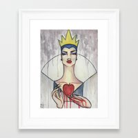 evil queen Framed Art Prints featuring Evil Queen by Estrela de Papel