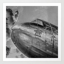 Airplane Vintage Flight Jet Pilot Fly Black White Print Art Print