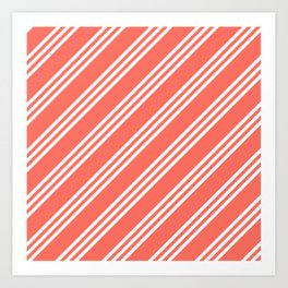 Living Coral Large Small/Small Stripes Art Print