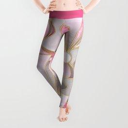 Rose Pink, Grey and Gold Art Deco Leggings