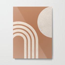 Mid century modern terra Sun & Rainbow Metal Print