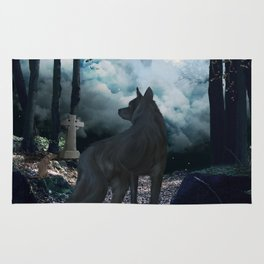The lonely wolf in the dark night Rug