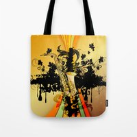 saxophone Tote Bags featuring Saxophone by nicky2342