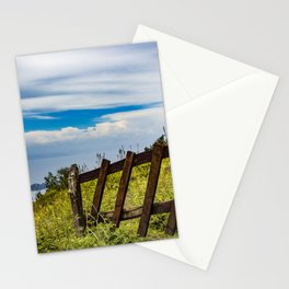 Wood Fence Lining a Meadow with Lake Views on Mombacho Volcano in Nicaragua Stationery Cards