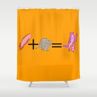 rocket raccoon Shower Curtains featuring Rocket+Raccoon by Rachcox