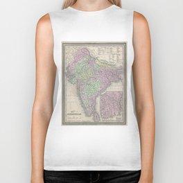 Vintage Map of India (1853) Biker Tank