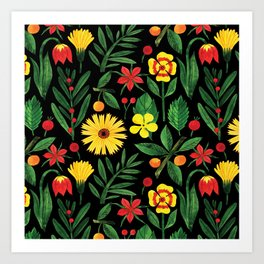 Black yellow orange green watercolor tulips daisies pattern Art Print