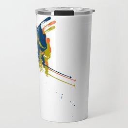 Print man on skis Travel Mug