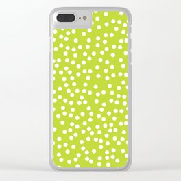 Lime Green and White Polka Dot Pattern Clear iPhone Case