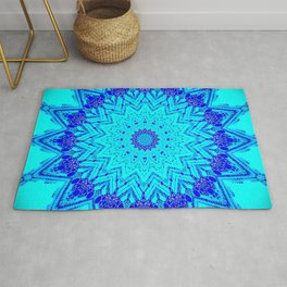 Bright blue turquoise Mandala Design Rug