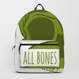 "Happy Halloween Shirt For October November Skull ""All Bones, No Brains"" T-shirt Design Creepy Spooky Backpack"