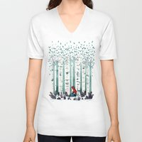 watercolour V-neck T-shirts featuring The Birches by littleclyde