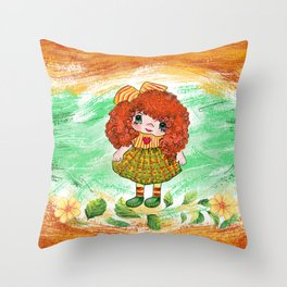 Red doll Throw Pillow
