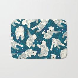 arctic polar bears blue Bath Mat